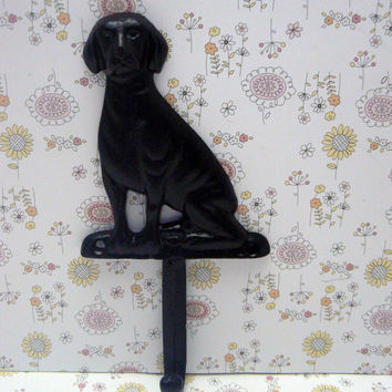 Dog Hook Cast Iron Wall Hook Painted in a Glossy Glam Black Single Coat Jewelry Leash Scarf Hat Cap Keys Towel Key Hook