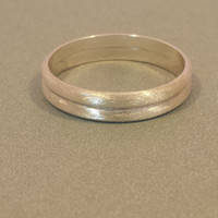 Set of Two Brushed Sterling Silver Half Round Band Rings