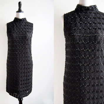 1960s Ma Cherie Black Beaded Lace Sleeveless High Neck Shift Dress