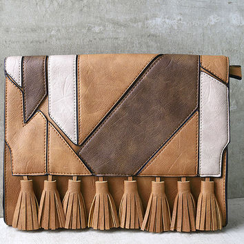 Piecing it Together Brown Clutch