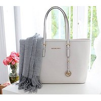 MK Women Shopping Bag Leather Satchel Crossbody Handbag Shoulder Bag White
