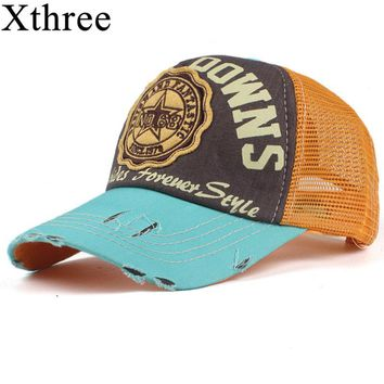 Xthree fashion mesh baseball cap for women men's  summer cap snapback Hat for men bone gorra  casquette fashion hat