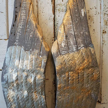 Large wood carved angel wings wall hanging distressed metal pewter gray w/ liquid gold angel wing set ooak home decor anita spero design