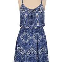 Scarf Print Tank Dress - Blue