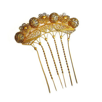 Victorian Hair Comb, Gilt Gold, Filigree, Crown, Chignon, Grecian Inspired, Antique Accessories