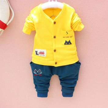 spring autumn style baby boy clothing sets cotton long sleeve infant cat suit baby boys girls clothes newborn toddler outfits