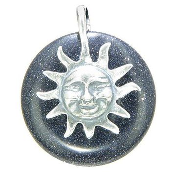 Positive Energy Happy Sun Good Luck Magic Amulet Lucky Donut Blue Goldstone Sterling Silver Pendant