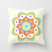 Colorful Mandala  Throw Pillow by Ashley Hillman