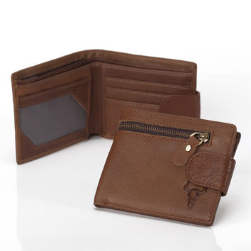Zippers Soft Leather Big Capacity Storage Vintage Design Wallet [9026231043]