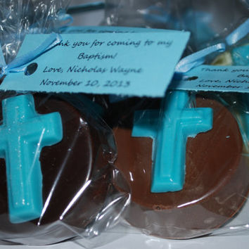 Chocolate Covered Oreos – 30 Decorated Cookies with Blue or Pink Cross – Christening / Baptism / Communion / Reconciliation Cookies