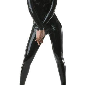 BlackSunnyDay Women's Black Latex No Hood & Gloves Matrix Catsuit
