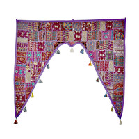 "46x42"" Vintage Indian temple door frame valance tribal textile Decorative gypsy bohemian Door Valance topper tapestry window hanging toran"