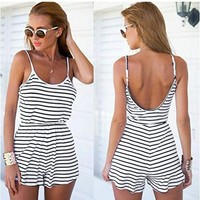 Zeagoo Women Summer Sexy Spaghetti Strap Jumpsuit Stripe Backless Short Jumpsuit