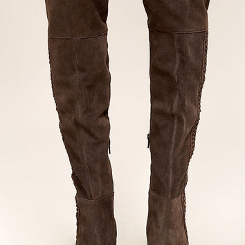 Coconuts Muse Chocolate Brown Suede Leather Over the Knee Boots