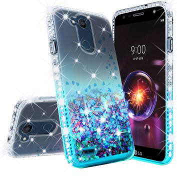 LG X Power 3, X Power 3 Case Liquid Glitter Phone Case Waterfall Floating Quicksand Bling Sparkle Cute Protective Girls Women Cover for X Power 3 - Teal