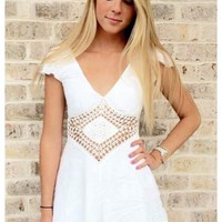 Sarah- White playsuit with crochet diamond cut out accent