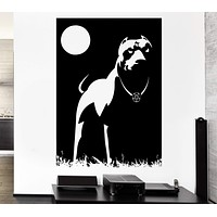 Wall Decal Pitbull Dog Night Dark Moon Pentagram Cur Occult Vinyl Decal Unique Gift (ed397)