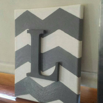 Chevron hand-painted canvas with wooden letter for initials! Customizable!