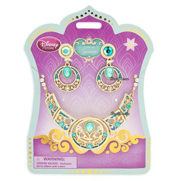 Licensed cool 2015 Disney Store Aladdin Princess JASMINE Costume Jewelry Necklace Earrings Set