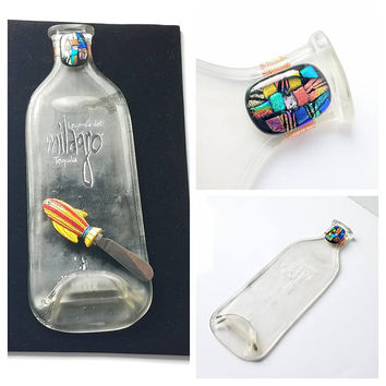 Recycled Glass Tequila Bottle Appetizer Tray w Dichroic Glass Hostess Gift Coworker Gift Slumped Flattened Milagro Clear Bottle Cheese Tray