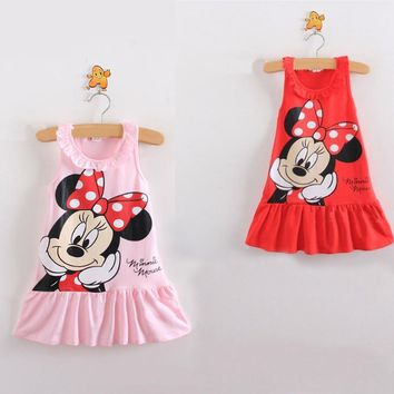 Summer new fashion baby cartoon Minnie suspender dress girl casual loose lotus collar sleeveless Beach Dress