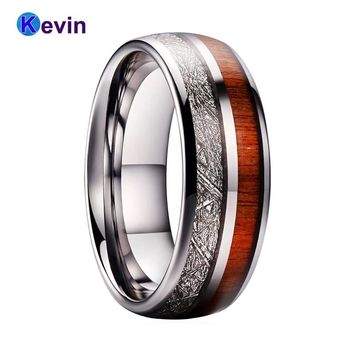 Tungsten Carbide Ring Men Women Wedding Band Domed With Wood And Meteorite Inlay