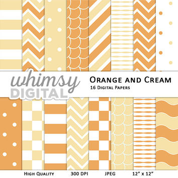 Orange and Cream Digital Paper with Stripes, Waves, Chevron, Polka Dots, Scallops, and Checkers in Cream, Orange, and White