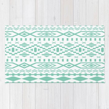 Green Area Floor Rug Lucite  Green Mint Teal Aztec Art Design Boho Bohemian Triangle Pattern Throw Woven Rectangle Modern Home Decor