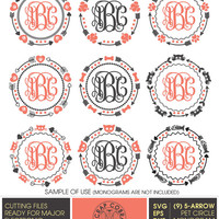 9 Tribal 5-Arrow Pet Monogram Frames - SVG, eps, DXF, png - Cut Files for Silhouette, Cricuit, other electronic cutting machines CV-406