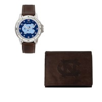 North Carolina Tar Heels Watch & Trifold Wallet Gift Set (Brown)