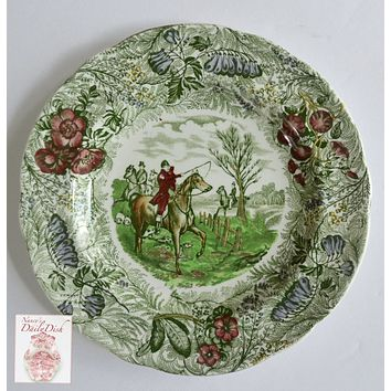 RARE Green Polychrome Transferware Plate English Hunt Scene Spode Copeland Field Sports