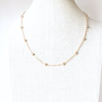 Satellite Choker Necklace - Gold Plated Beaded Ball necklace