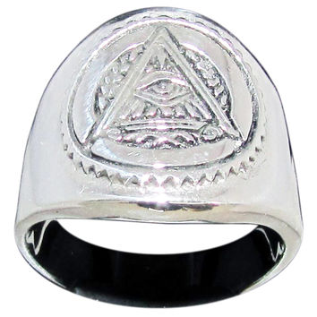 Masonic All Seeing Eye Pyramid Ring Illuminati Freemason Symbol in Sterling Silver 925