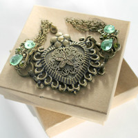 Antique Brass Heart Bracelet with Olivine Green Accents One of a Kind
