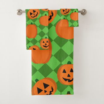 Halloween Pumpkins Bath Towel Set