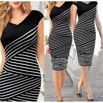 Elegant Women Summer V Neck Dress Black And White Stripe Stitching Pencil Dresses Lady Knee Length Party Bodycon Dress