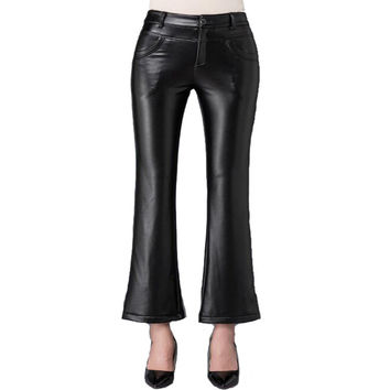 Autumn Winter Woman Trousers High Waist Wear Thick Velvet Faux Leather Pants Women Formal Slim Stretch Flare Pants Black 26-34