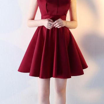 New Women Cut Out Backless Pleated Elegant A Type Homecoming Mini Dress
