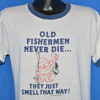 80s Old Fishermen Smell Ringer t-shirt Large