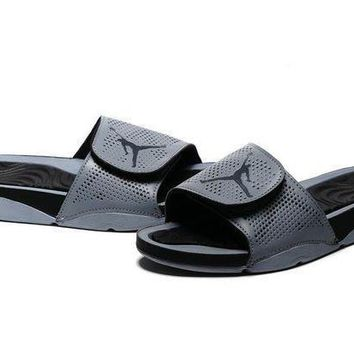 PEAPGE2 Beauty Ticks Nike Jordan Hydro V Retro Gray/black Sandals Slipper Shoes Size Us 7-11