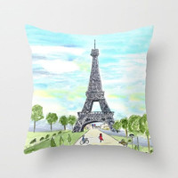 Paris France Throw Pillow ,  Eiffel Tower, teal, aqua,  city sketch home, decor, designer