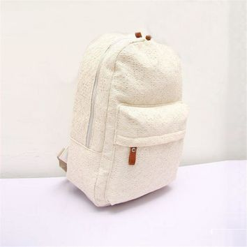 Indira New Fashion Women Bag Lace Canvas Backpack Cute Girls Bag Schoolbag Packpacks Female Bags