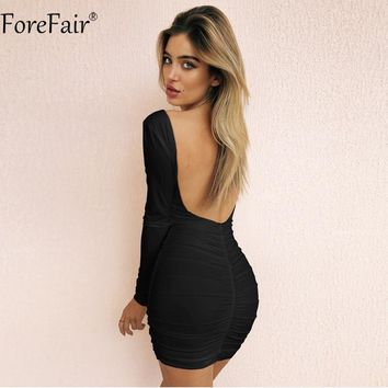 ForeFair Black White Backless Sexy Mini Bodycon Dress Women Long Sleeve Elastic Sheath Ruched Dress