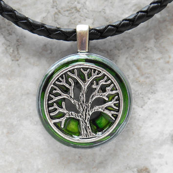 tree of life necklace: green - mens jewelry - leather necklace - boyfriend gift - celtic jewelry - unique - tree necklace - necklace for men