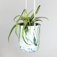 ONE-OF-A-KIND green marbled planter