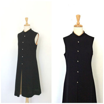 Vintage Military Style Dress - 60s dress - mod - wool dress - uniform dress - Stacy Ames - fall fashion - midi - two tone - Medium