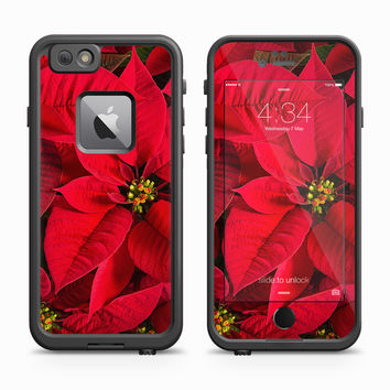 Red Poinsettia Macro Zoom Skin for the Apple iPhone LifeProof Fre Case