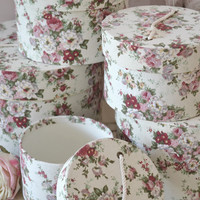 Shabby Cottage Chic Set of Rose Nesting Pink Decorative Storage Boxes