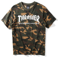 """THRASHER""print camouflage color loose short sleeve T-shirt"