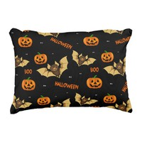 Bat, pumpkin and spider pattern decorative pillow